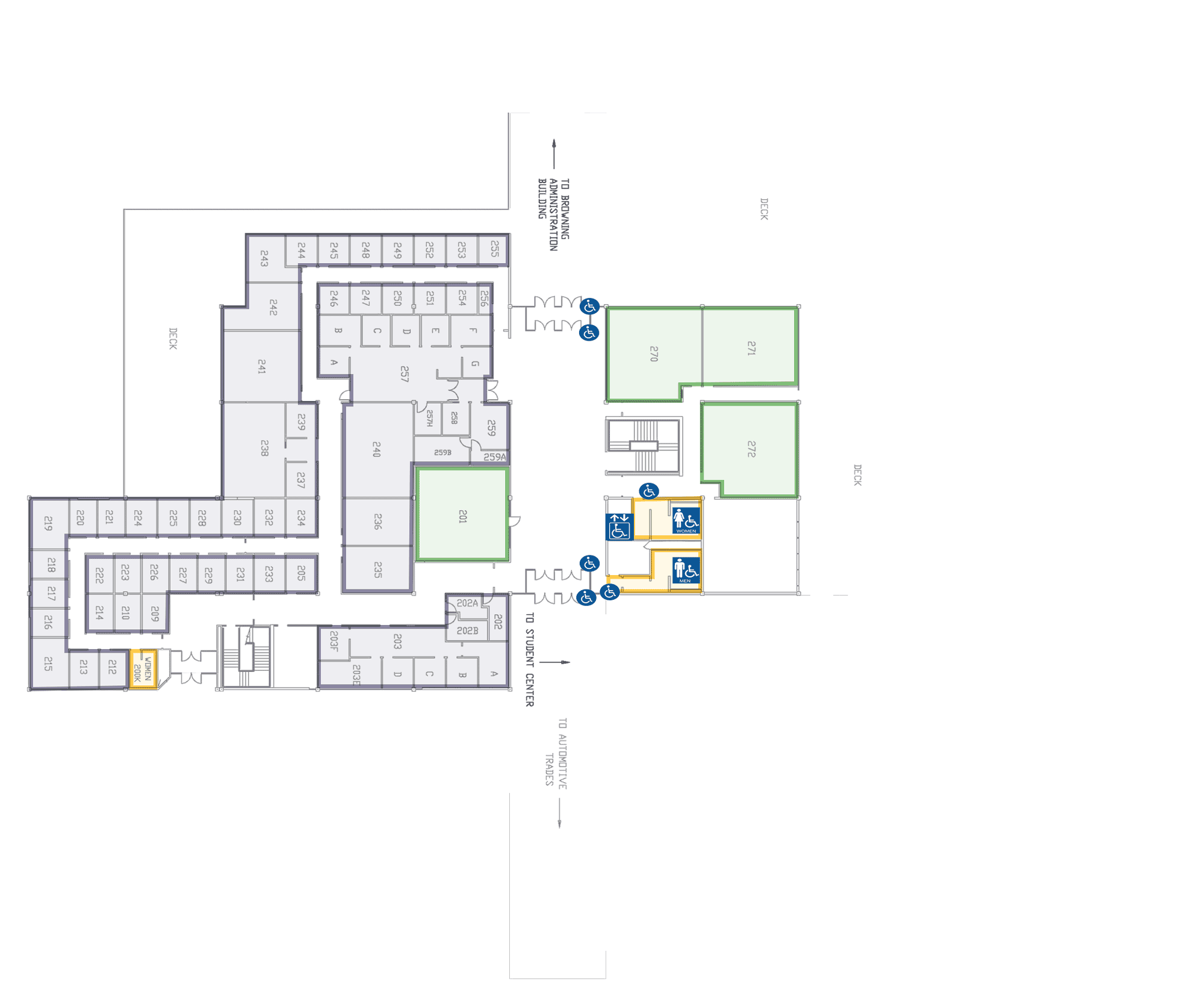 Woodbury Business Building Level 2. This level contains: outside push button door access, accessible seating in auditorums, push button access to accessible restrooms.