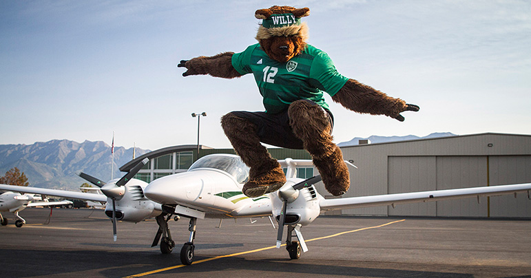 Willy the wolverine and an airplane