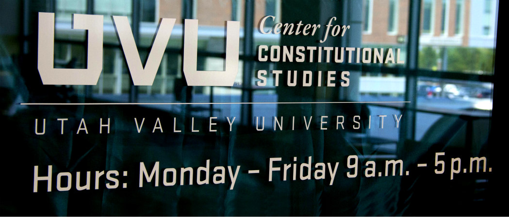 Window sign showing Center for Constitutional Studies secondary logo