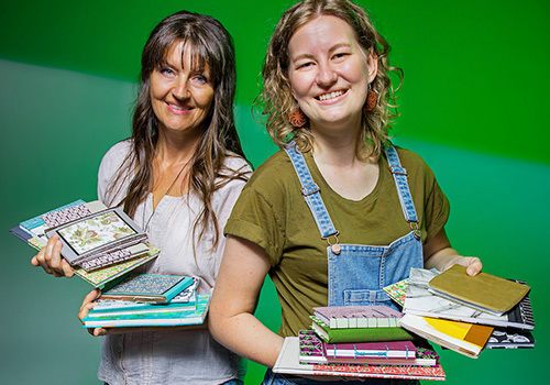 Mother and daughter bookbinding team