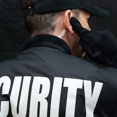 Back view of security officer
