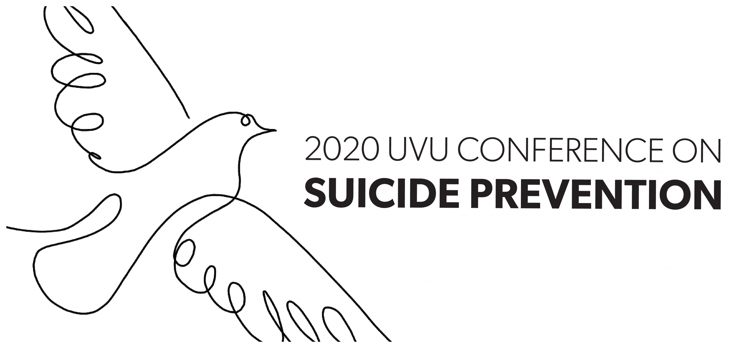 2020 UVU Conference on Suicide Prevention--line drawing of a dove