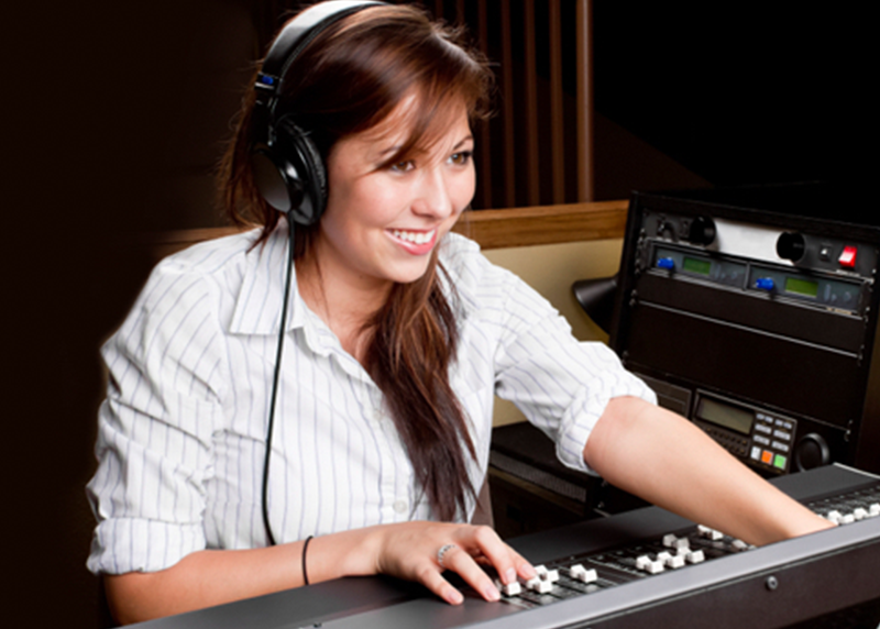 Girl working on soundboard