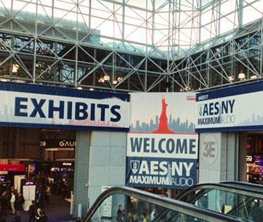 AES banners at the New York City Javits Center