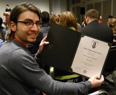UVU Student winning silver in audio competition