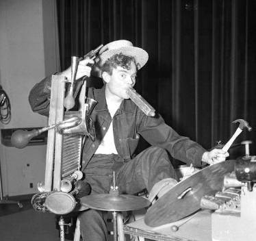 Band Leader Spike Jones circa 1941 playing percussion instruments