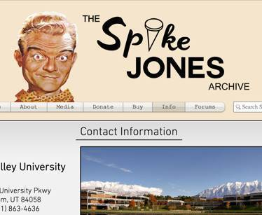 Screenshot of the old Spike Jones Archive site