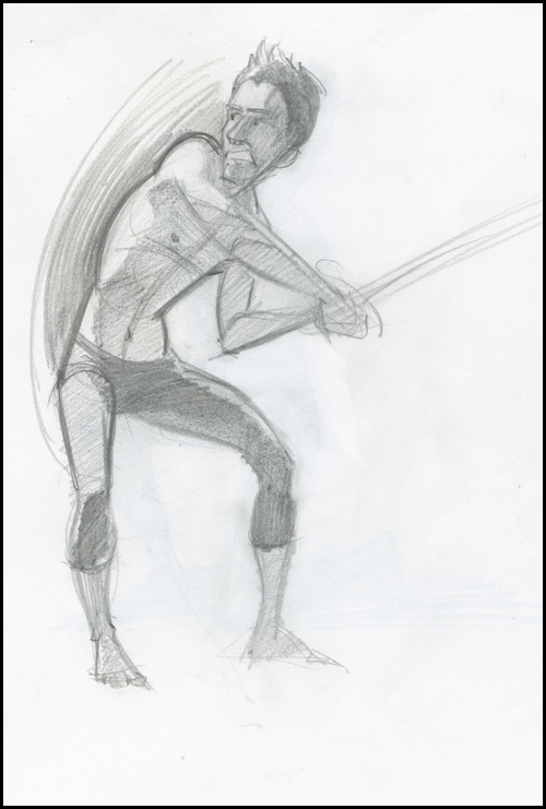 sketch of man with sword
