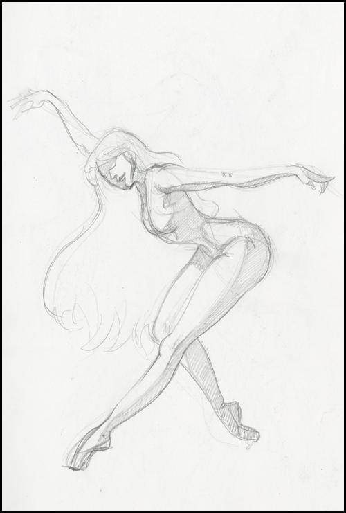 sketch of ballerina on point