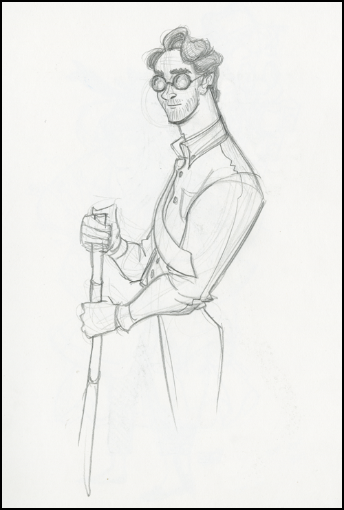 sketch of man with glasses