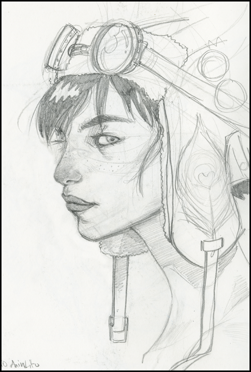 sketch of female pilot with navigator helmet and glasses