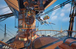 exterior of a steampunk styled animated airship