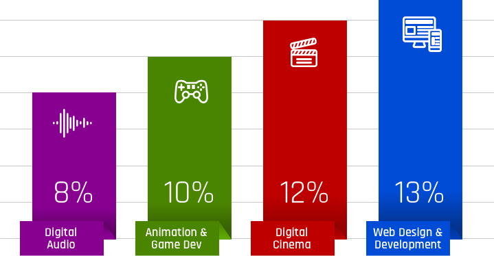 audio 8%, animation 10%, cinema 12%, web 13%