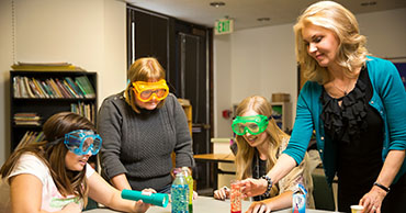 Group wearing lab goggles