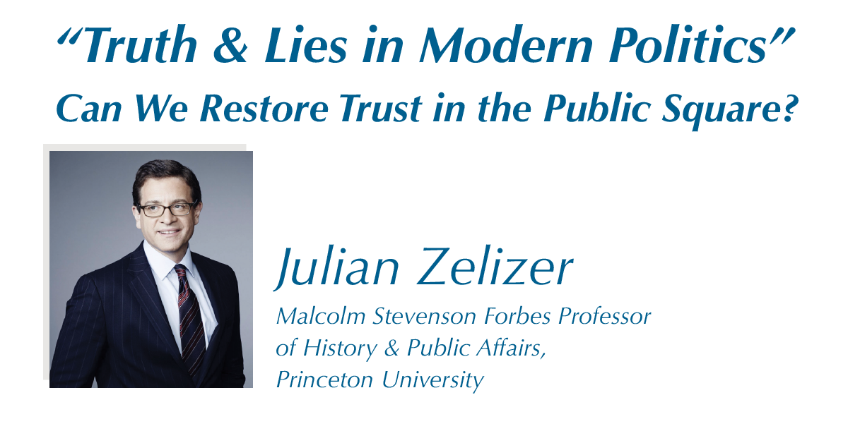 This is an announcement for Dr. Julian Zelizer's event.