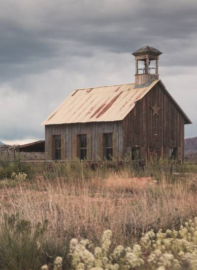 This is an old, abandoned school in rural Utah.