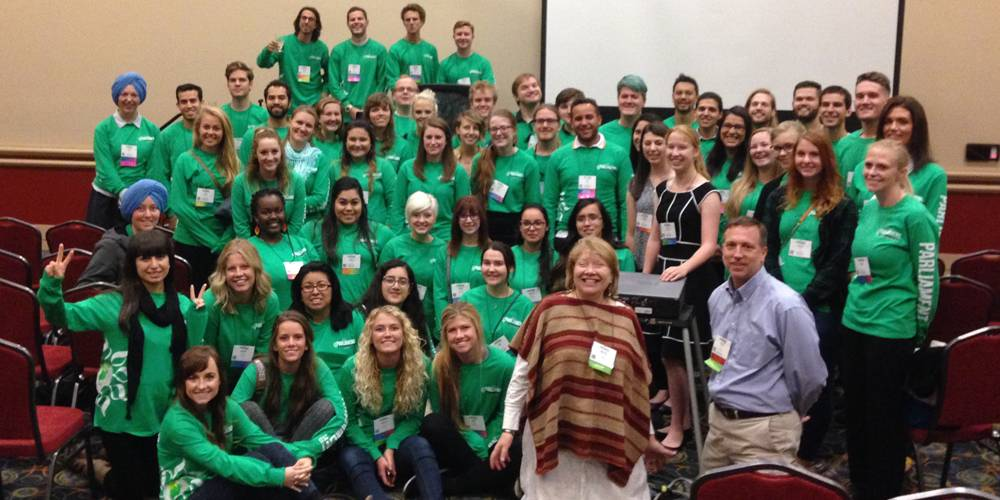 This a picture of UVU volunteers who worked to support the Interfaith Global Parliament.