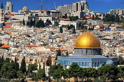 Dome of the Rock and Jerusalem.