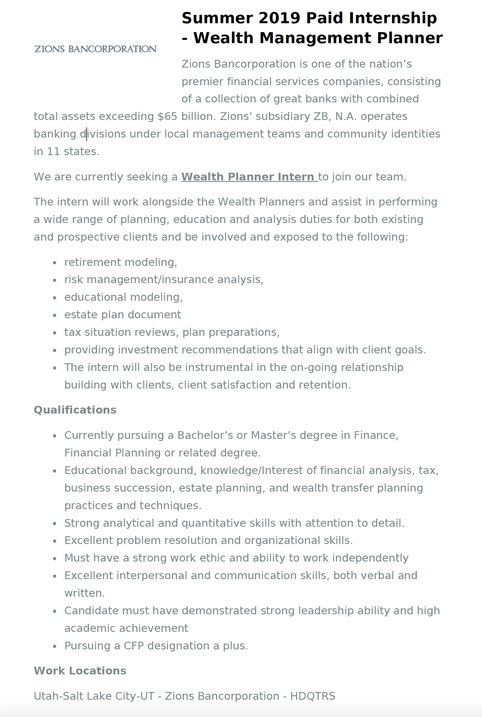 Job Board | Personal Financial Planning | Finance and Economics