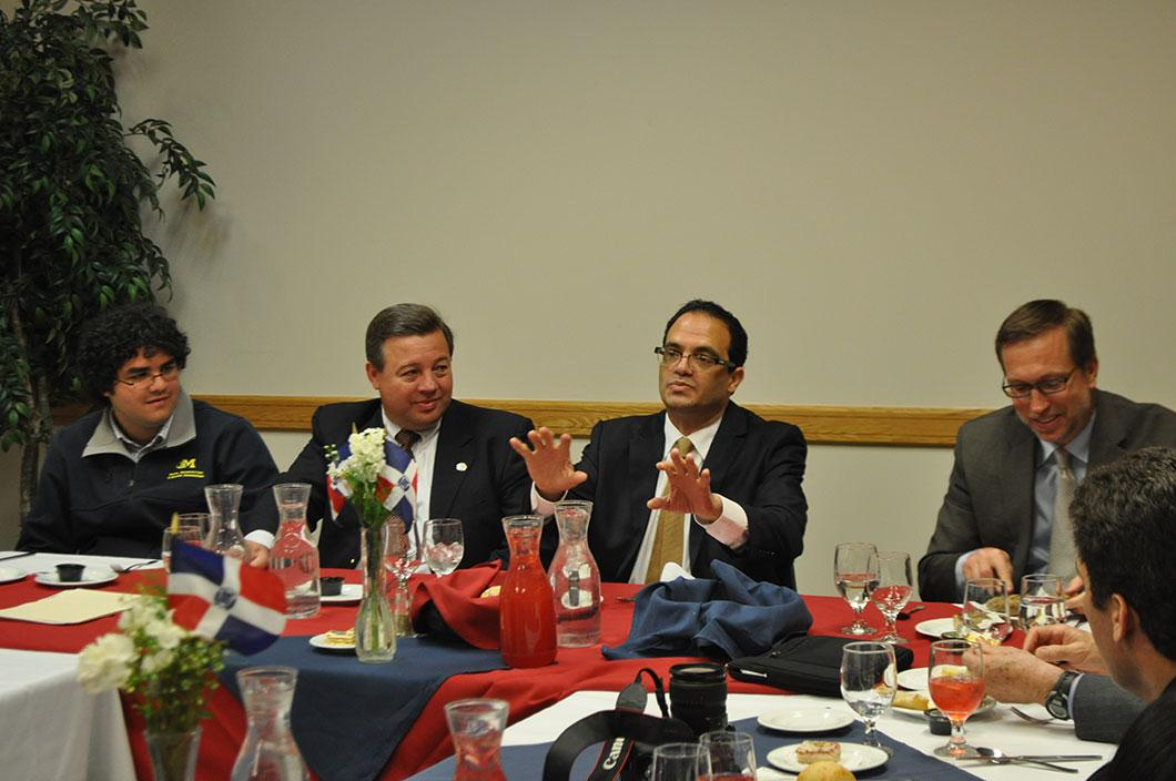 The ambassador speaking to UVU faculty and administrators at a luncheon