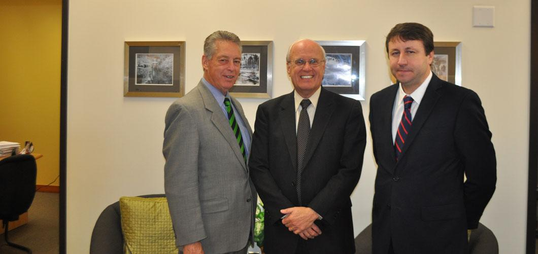 Ambassador Munteanu with Dr. Rusty Butler and UVU Senior VP, Ian Wilson