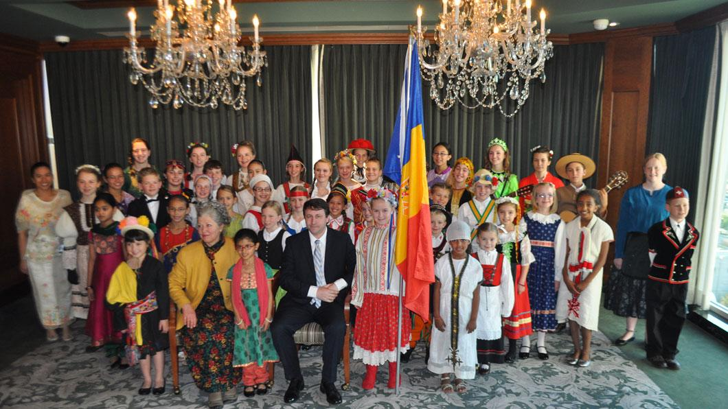 Ambassador Munteanu with the LDS Children's Choir