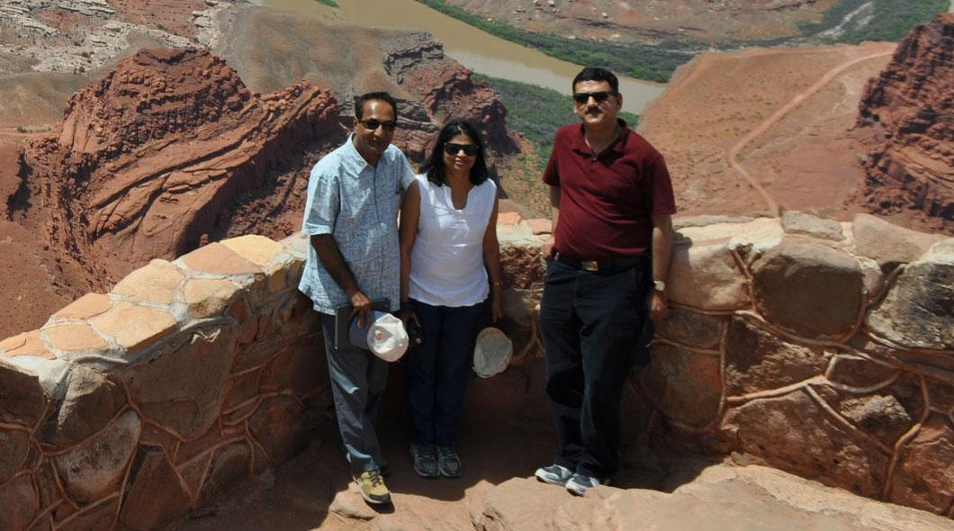 Ambassador Parthasarathi, his wife and Consul Jha at Dead Horse Point in Southern Utah