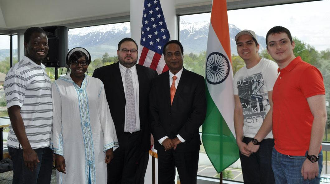 Ambassador Parthasarathi after his lecture with UVU Students