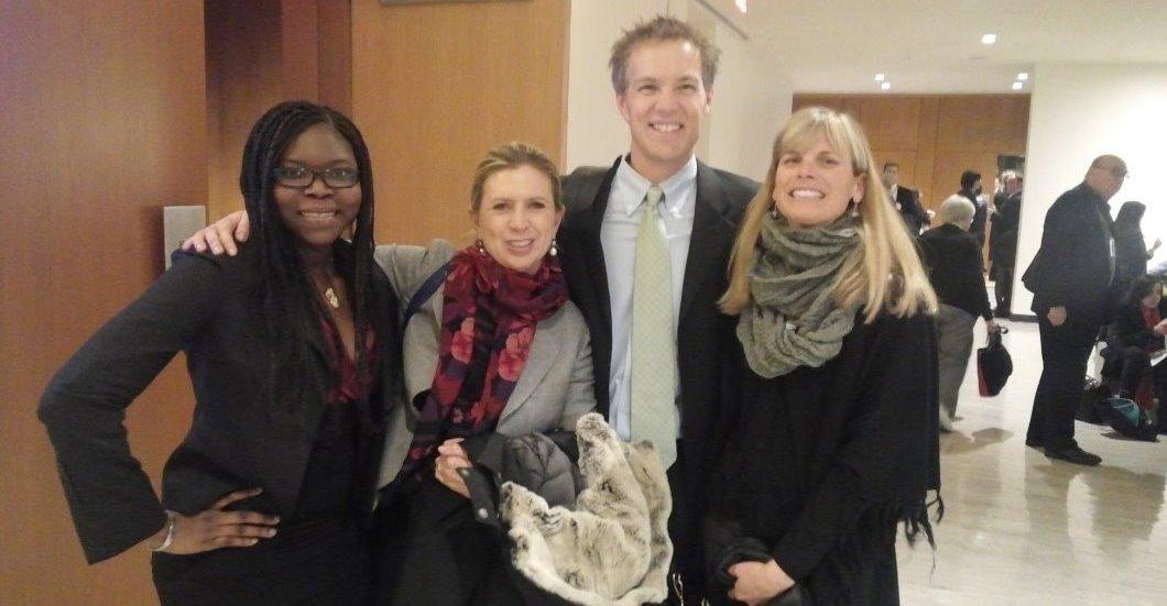 Marie Poudiougou with Panelists Ms. Rosalaura Romeo, Mr. Jake Norton & Mrs. Norton after the conference