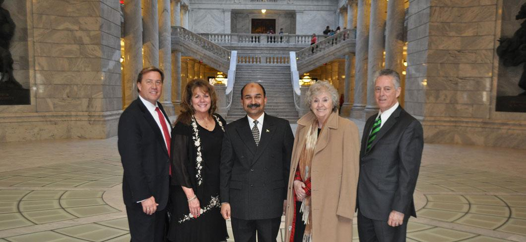 Consul General Khan with Dee Mower and Jim Willims in the State Capitol Rotunda
