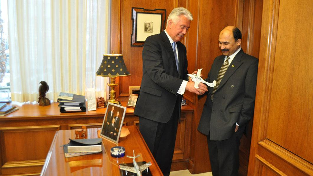 Consul General Khan with President Dieter Uchtdorf, member of the First Presidency of the LDS Church