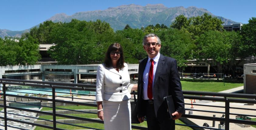 Consul General Brymora and his wife at Utah Valley University