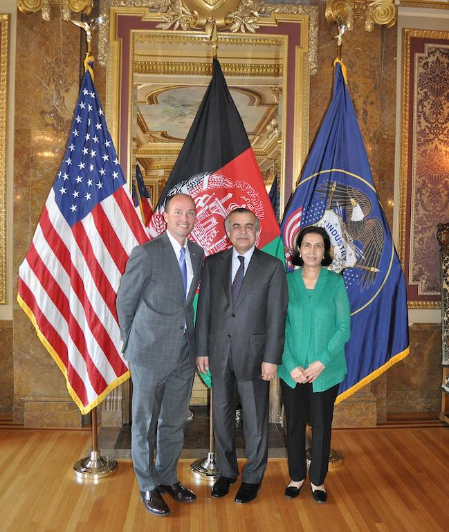 Ambassador Tanin and his wife are joined by Lt. Governor Spencer Cox in the Utah Capitol Gold Room.
