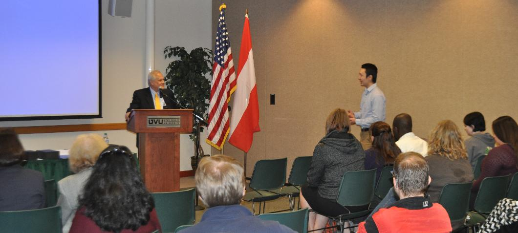 Ambassador Sajdik interacting with UVU student during his lecture