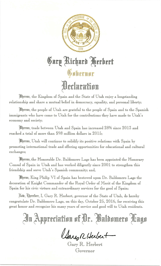 Official declaration from Governor Gary R. Herbert.