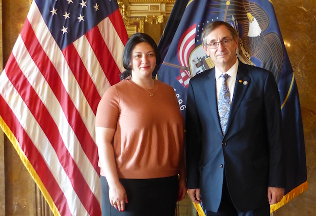Consul General Diana Zhgenti with Franz Kolb from the Governor's Office of Economic Development.