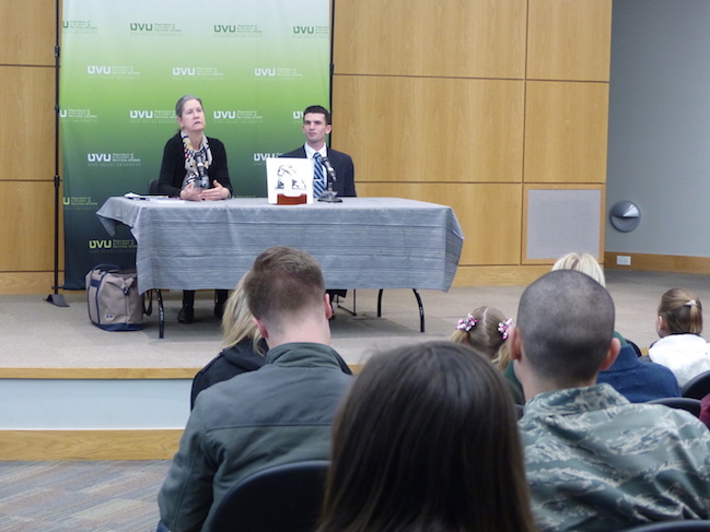 Ambassador (ret.) Eileen A. Malloy giving a lecture to UVU students.