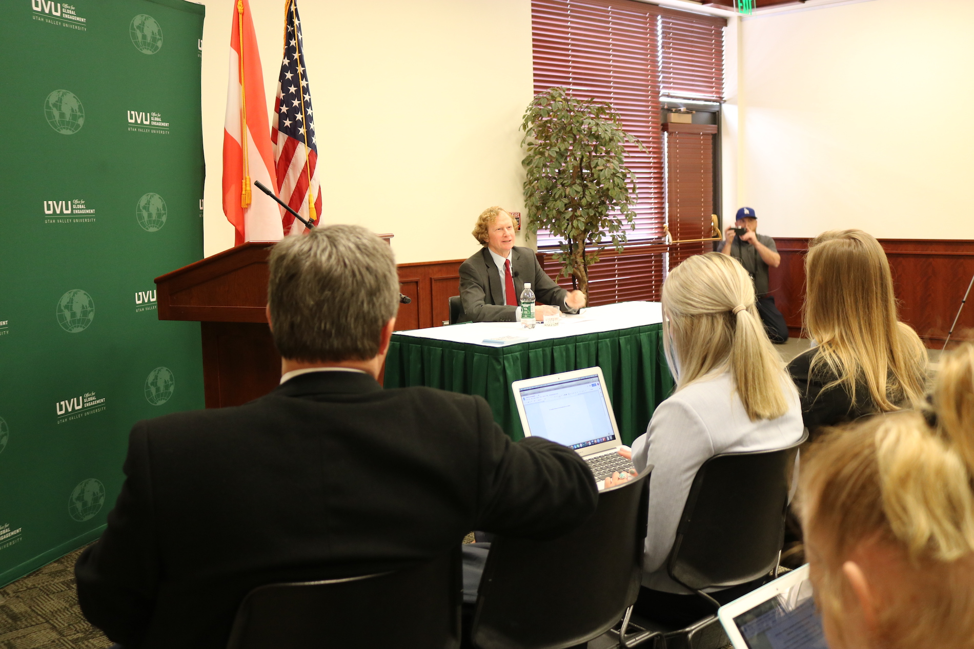Ambassador giving a lecture to UVU Students.