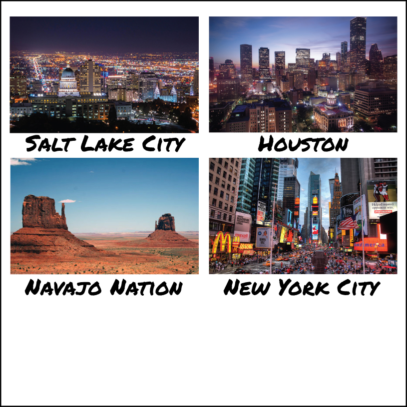 4 Images in an old polaroid style. Top left is Salt Lake City at night. Top right is Houston, Texas at night. Bottom left is Najavo Nation with a desert scene of redstone plateus. Bottom right is New York City's time square at sunset.
