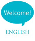 Text bubble that says:Welcome! Coming out of the word English