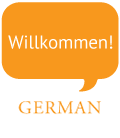 Text bubble that says: Willkommen! Coming out of the word German