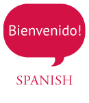Text bubble that says: Beinvenido! Coming out of the word Spanish
