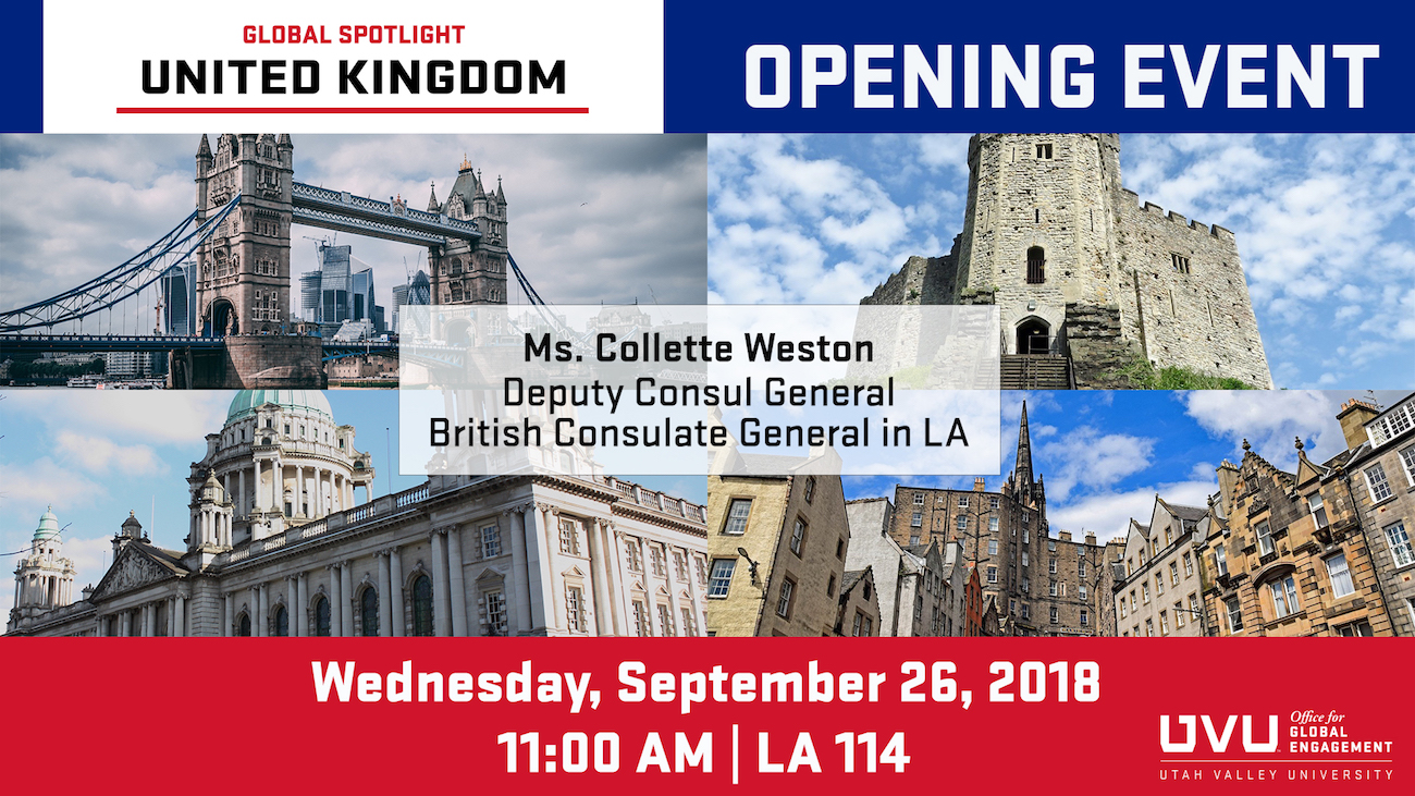 Opening Event Banner for UK. Image of Tower Bridge in London. Text on banner says: Opening Event. Wednesday, September 26, 2018. 12:00 PM, CGIE Conf. Room