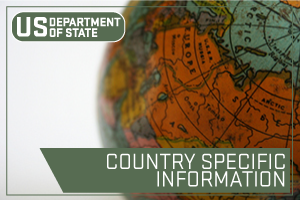 US State Department - Country specific information. Image of a globe