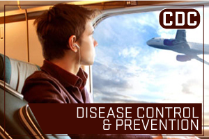 CDC - Disease Control and Prevention. Image of man on airplane looking out the window