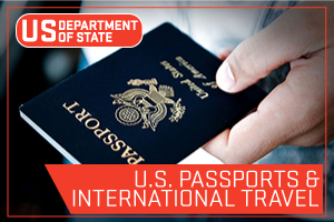 US State Department - U.S. Passports and International Travel. Image of someone holding a passport