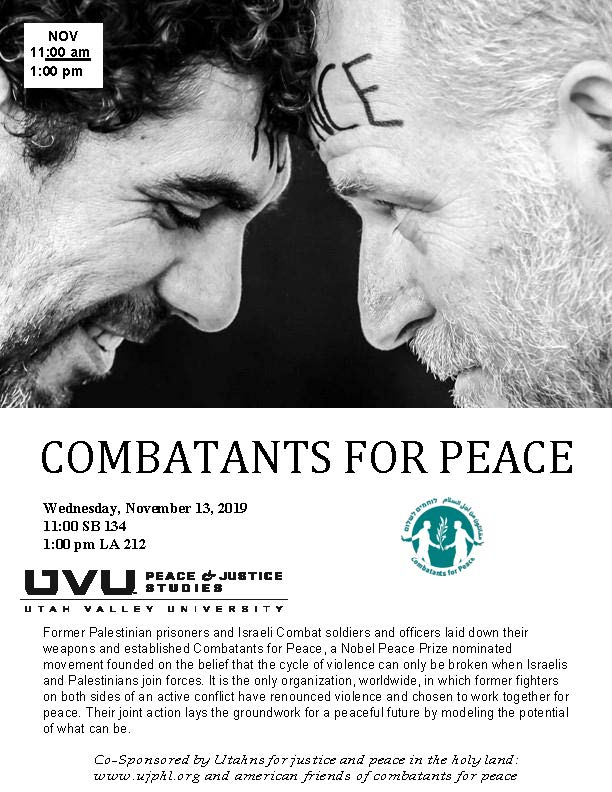 Poster advertising Combatants for Peace event held in 2019