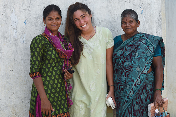 student with two indian women