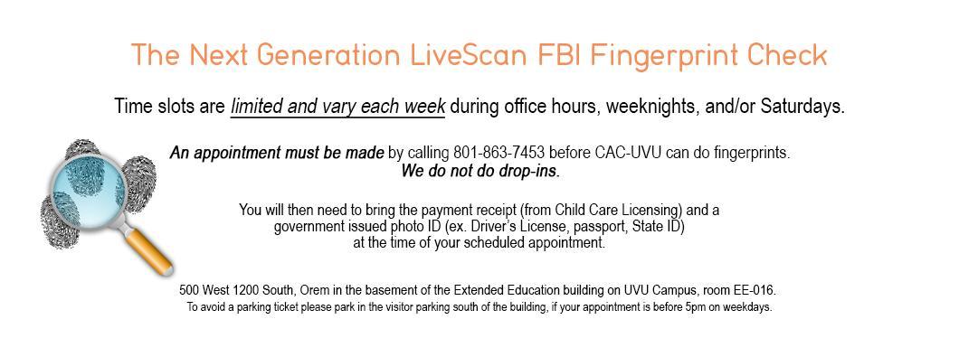 Next Generation Live Scan FBI Fingerprints