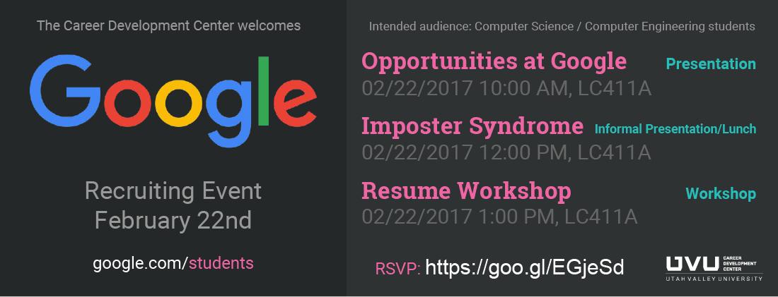 Google Recruiting EventFebruary 22nd